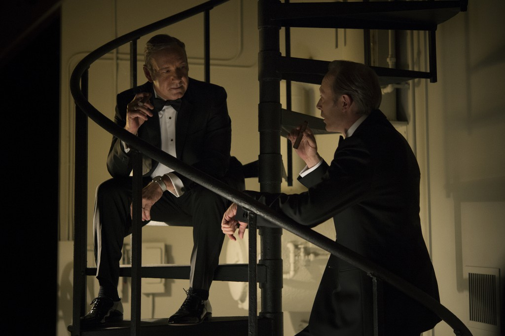 Lars Mikkelsen en Kevin Spacey House of Cards. Foto David Giesbrecht / Netflix