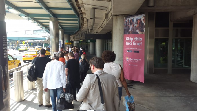 Waiting in line for a cab at LaGuardia airport Terminal B. Here travellers can skip the line using the Bandwagon app. Photo Hans Klis
