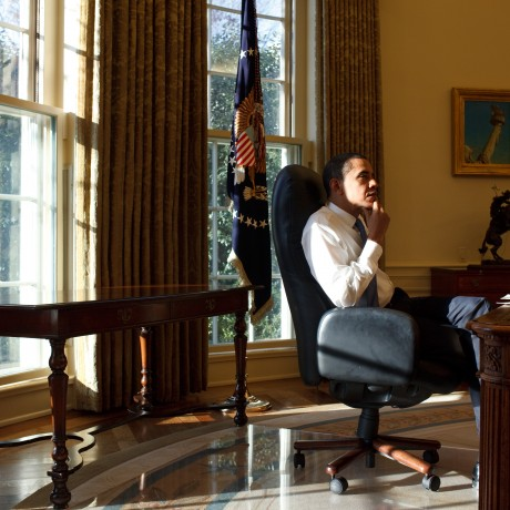 President Barack Obama in the Oval Office on his first day in office 1/21/09. Official White House Photo by Pete Souza.